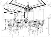 Dining Room Clipart And Illustrations