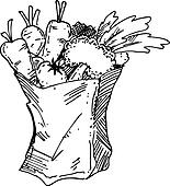 Black And White Grocery Bag Clip Art Seafood Clipart EPS Im...