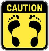 caution sign with foot print - no bare feet