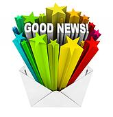 Good News Arrives in Open Envelope and LetterGreat News Clipart